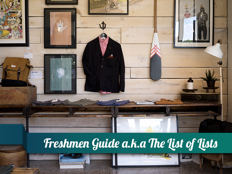Freshmen Guide a.k.a. The List of Lists